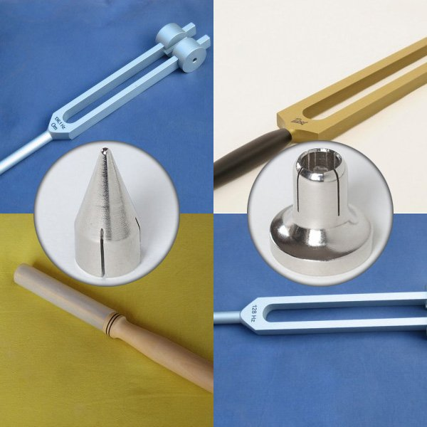 Set Tuning Forks 128 Hz + 136,1 Hz + OM + Wide Tip + Narrow Tip + Silicon Stick